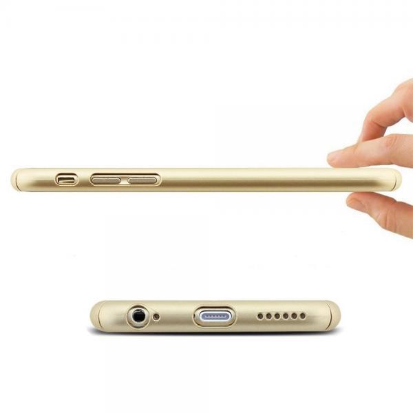 Husa Full Cover 360 (fata + spate + geam sticla) pentru Apple iPhone 6 / 6S, Gold