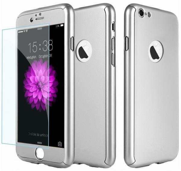 Husa Full Cover 360 (fata + spate + geam sticla) pentru Apple iPhone 7, Silver