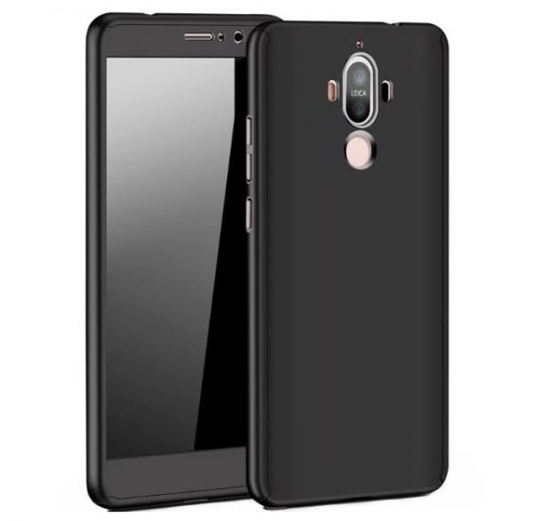 Husa Full Cover 360 (fata + spate + geam sticla) pentru Huawei Mate 9, Negru