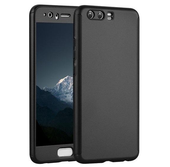 Husa Full Cover 360 (fata + spate + geam sticla) pentru Huawei P10, Negru