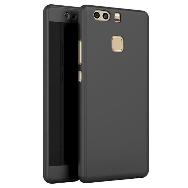 Husa Full Cover 360 (fata + spate + geam sticla) pentru Huawei P9, Negru