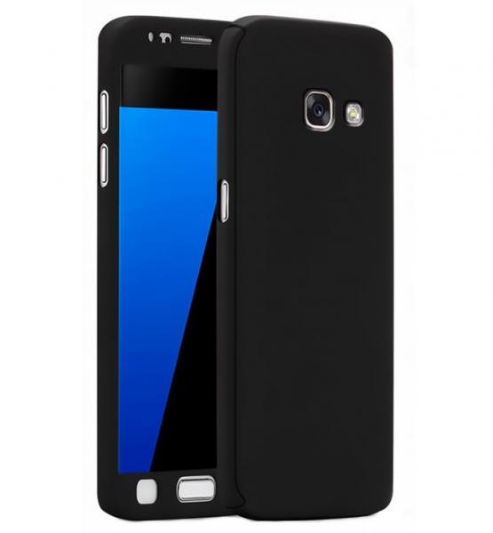 Husa Full Cover 360 (fata + spate + geam sticla) pentru Samsung Galaxy A3 (2017), Negru