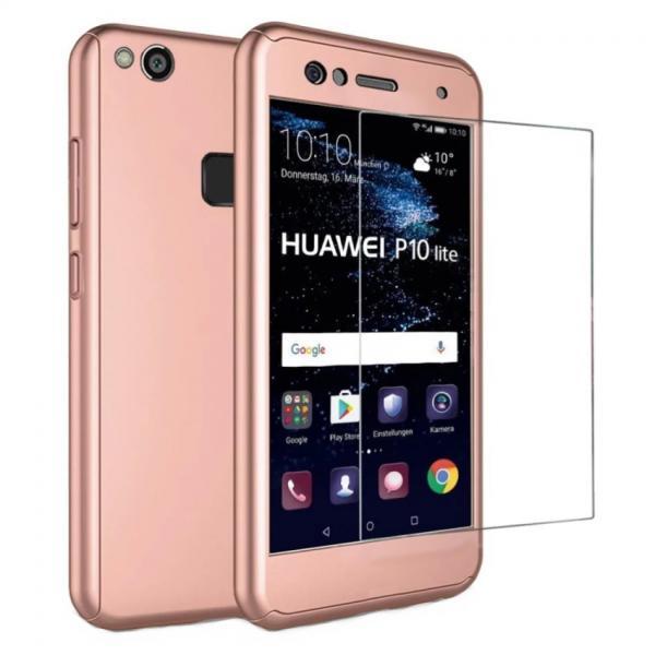 Husa Full Cover 360 + folie sticla Huawei P10 Lite, Rose Gold
