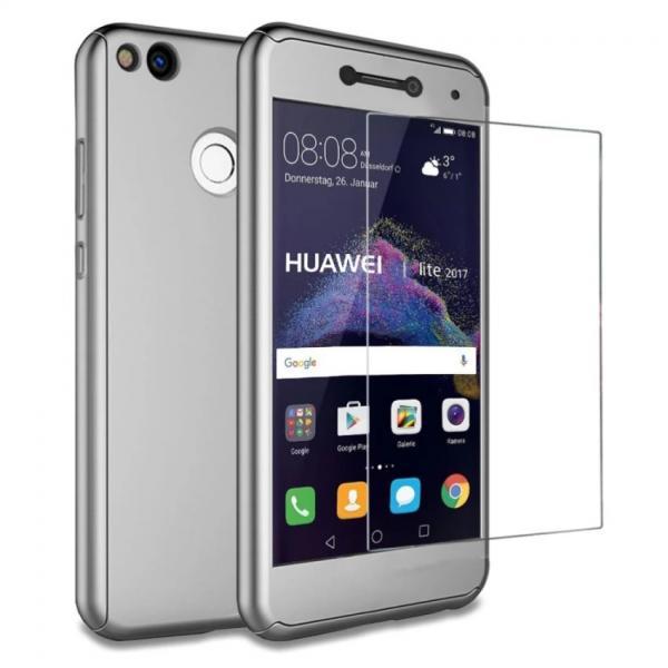 Husa Full Cover 360 + folie sticla Huawei P9 Lite 2017, Silver
