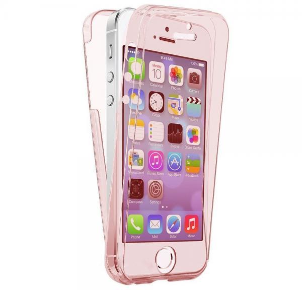 Husa Full TPU 360 (fata + spate) pentru Apple iPhone 5 / SE / 5S, Rose Gold transparent