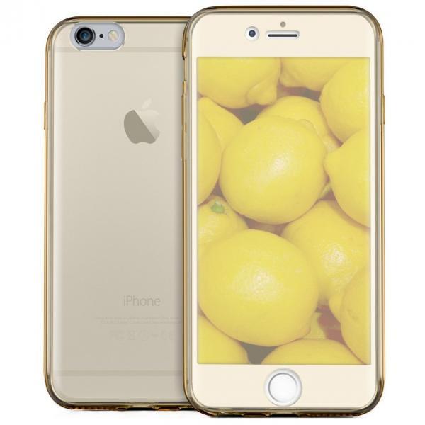 Husa Full TPU 360 (fata + spate) pentru Apple iPhone 6 / 6S, Gold Transparent