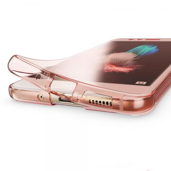 Husa Full TPU 360 (fata + spate) pentru Huawei P10 Lite, Rose Gold Transparent