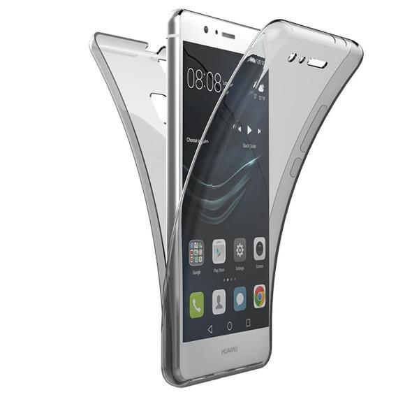 Husa Full TPU 360 (fata + spate) pentru Huawei P9, Gri Transparent