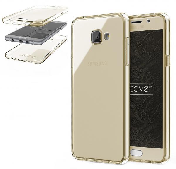 Husa Full TPU 360 (fata + spate) pentru Samsung Galaxy A5 (2016), Gold Transparent