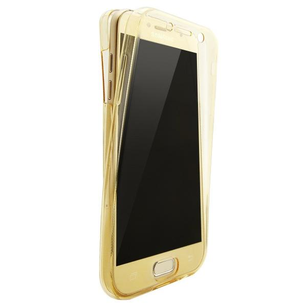 Husa Full TPU 360 (fata + spate) pentru Samsung Galaxy A7 (2017), Gold transparent