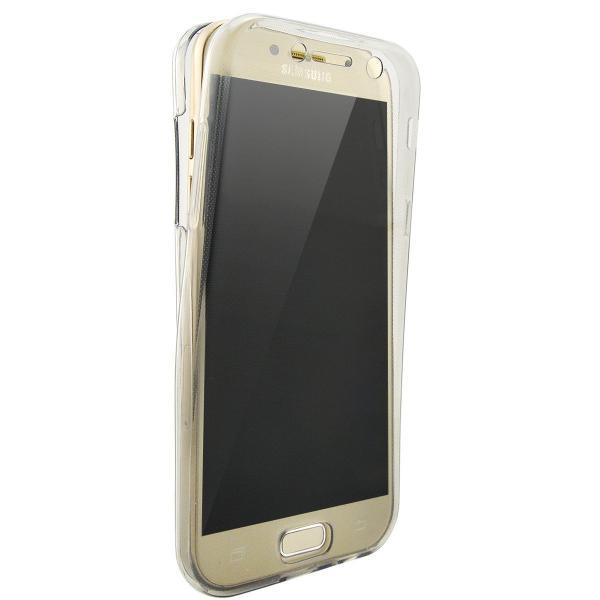 Husa Full TPU 360 (fata + spate) pentru Samsung Galaxy A7 (2017), Gri transparent