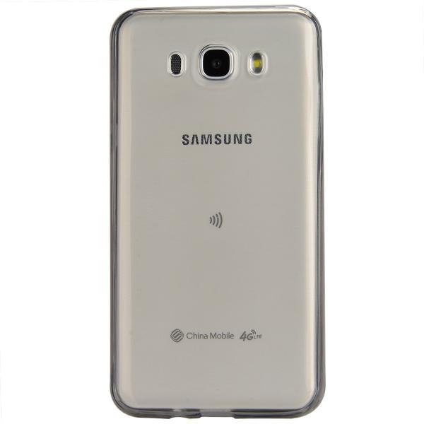 Husa Full TPU 360 (fata + spate) pentru Samsung Galaxy J5 (2016), Gri transparent