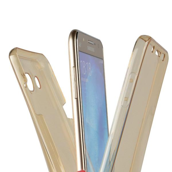 Husa Full TPU 360 (fata + spate) pentru Samsung Galaxy J7 (2016), Gold Transparent