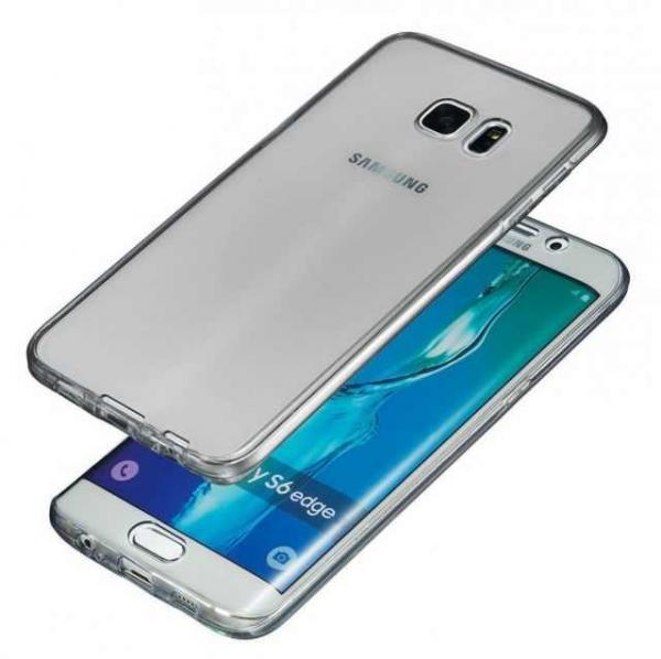 Husa Full TPU 360 (fata + spate) pentru Samsung Galaxy S6 Edge, Gri Transparent