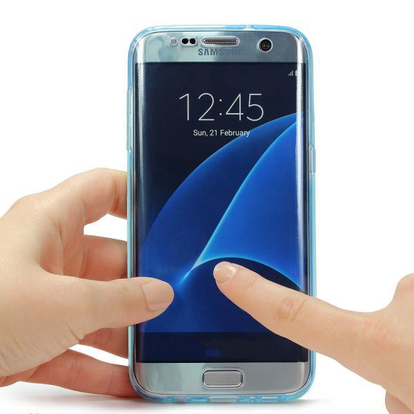 Husa Full TPU 360 (fata + spate) pentru Samsung Galaxy S7 Edge, Albastru transparent