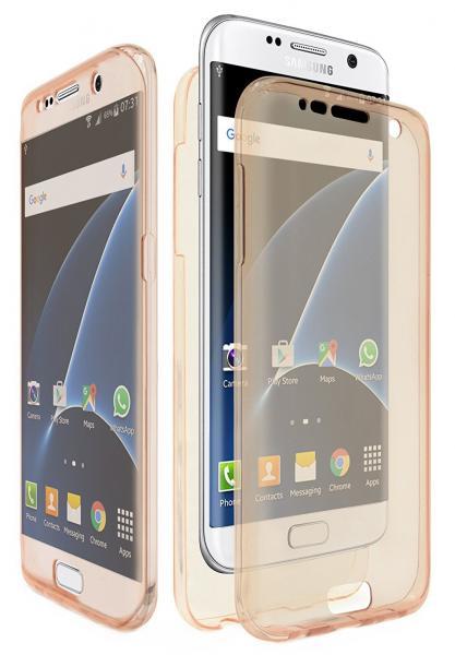 Husa Full TPU 360 (fata + spate) pentru Samsung Galaxy S7 Edge, Gold Transparent