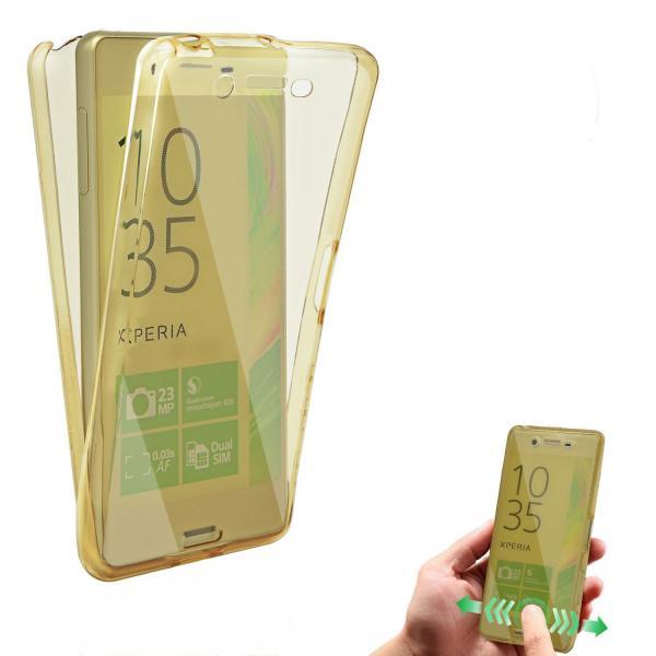 Husa Full TPU 360 (fata + spate) pentru Sony Xperia X, Gold transparent