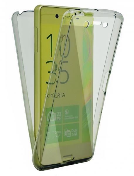 Husa Full TPU 360 (fata + spate) pentru Sony Xperia Z5, Gri transparent
