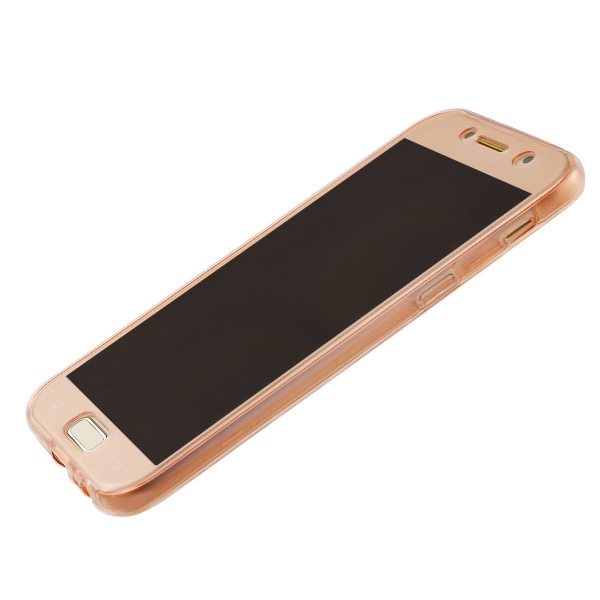 Husa Full TPU 360 (fata + spate) Samsung Galaxy A5 (2017), Rose Gold Transparent