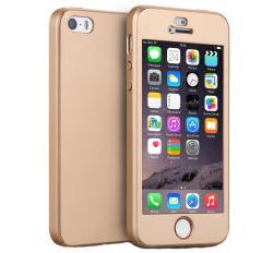 Husa Full Cover 360 (fata + spate + geam sticla) pentru Apple iPhone 5 / 5S / SE, Gold