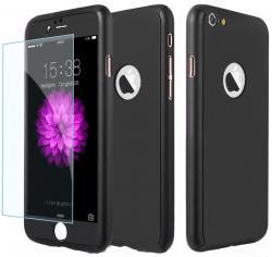 Husa Full Cover 360 (fata + spate + geam sticla) pentru Apple iPhone 7, Negru