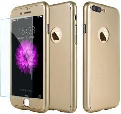 Husa Full Cover 360 (fata + spate + geam sticla) pentru Apple iPhone 7 Plus, Gold