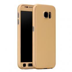 Husa Full Cover 360 (fata + spate + geam sticla) pentru Samsung Galaxy S6, Gold
