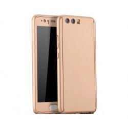 Husa Full Cover 360 + folie sticla Huawei P10, Gold
