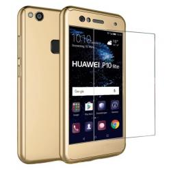 Husa Full Cover 360 + folie sticla Huawei P10 Lite, Gold