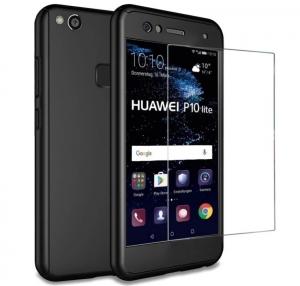 Husa Full Cover 360 + folie sticla Huawei P10 Lite, Negru
