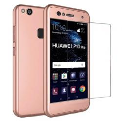 Husa Full Cover 360 + folie sticla Huawei P10 Lite, Rose Gold