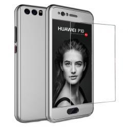 Husa Full Cover 360 + folie sticla Huawei P10, Silver