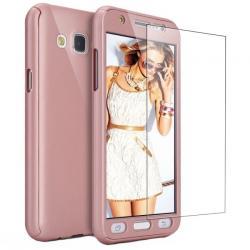 Husa Full Cover 360 + folie sticla Samsung Galaxy J7 (2016), Rose Gold
