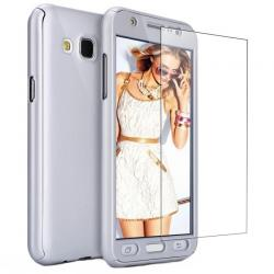 Husa Full Cover 360 + folie sticla Samsung Galaxy J7 (2016), Silver