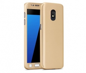 Husa Full Cover 360 + folie sticla Samsung Galaxy J7 (2017), Gold