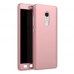 Husa Full Cover 360 + folie sticla Xiaomi Redmi Note 4, Rose Gold