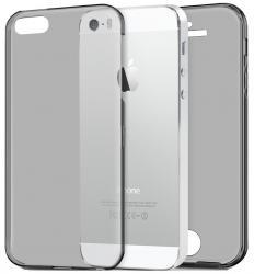 Husa Full TPU 360 (fata + spate) pentru Apple iPhone 5 / 5S / SE, Gri Transparent