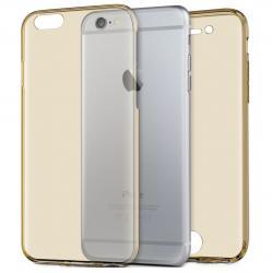 Husa Full TPU 360 (fata + spate) pentru Apple iPhone 7, Gold Transparent