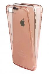 Husa Full TPU 360 (fata + spate) pentru Apple iPhone 7 Plus, Rose Gold Transparent