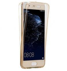 Husa Full TPU 360 (fata + spate) pentru Huawei P10 Plus, Gold Transparent