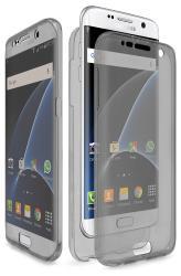 Husa Full TPU 360 (fata + spate) pentru Samsung Galaxy S7 Edge, Gri transparent
