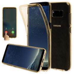 Husa Full TPU 360 (fata + spate) pentru Samsung Galaxy S8, Gold Transparent
