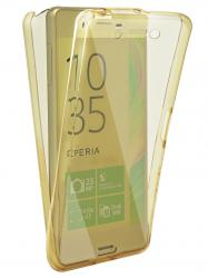 Husa Full TPU 360 (fata + spate) pentru Sony Xperia Z5 Premium, Gold transparent