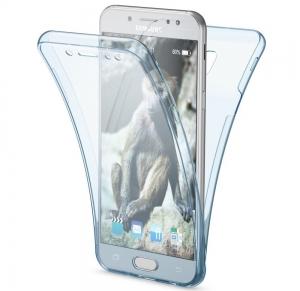 Husa Full TPU 360 fata spate Samsung Galaxy J3 (2017), Albastru Transparent