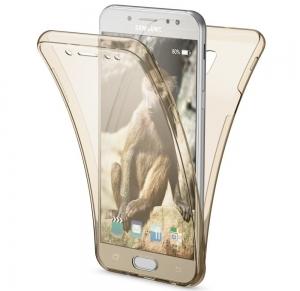 Husa Full TPU 360 fata spate Samsung Galaxy J3 (2017), Gold Transparent