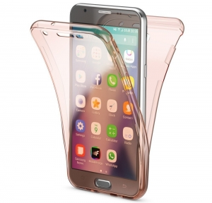 Husa Full TPU 360 fata spate Samsung Galaxy J7 (2017), Rose Gold Transparent