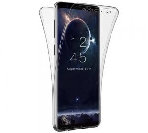 Husa Full TPU 360 fata + spate Samsung Galaxy S9, Gri Transparent