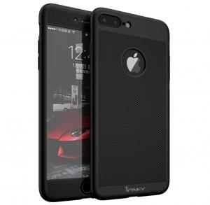 Husa iPaky 360 Air + folie sticla iPhone 7 Plus, Negru