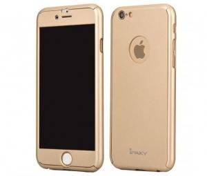 Husa iPaky 360 + folie sticla iPhone 6 / 6S, Gold