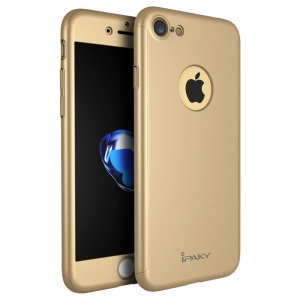 Husa iPaky 360 + folie sticla iPhone 7, Gold